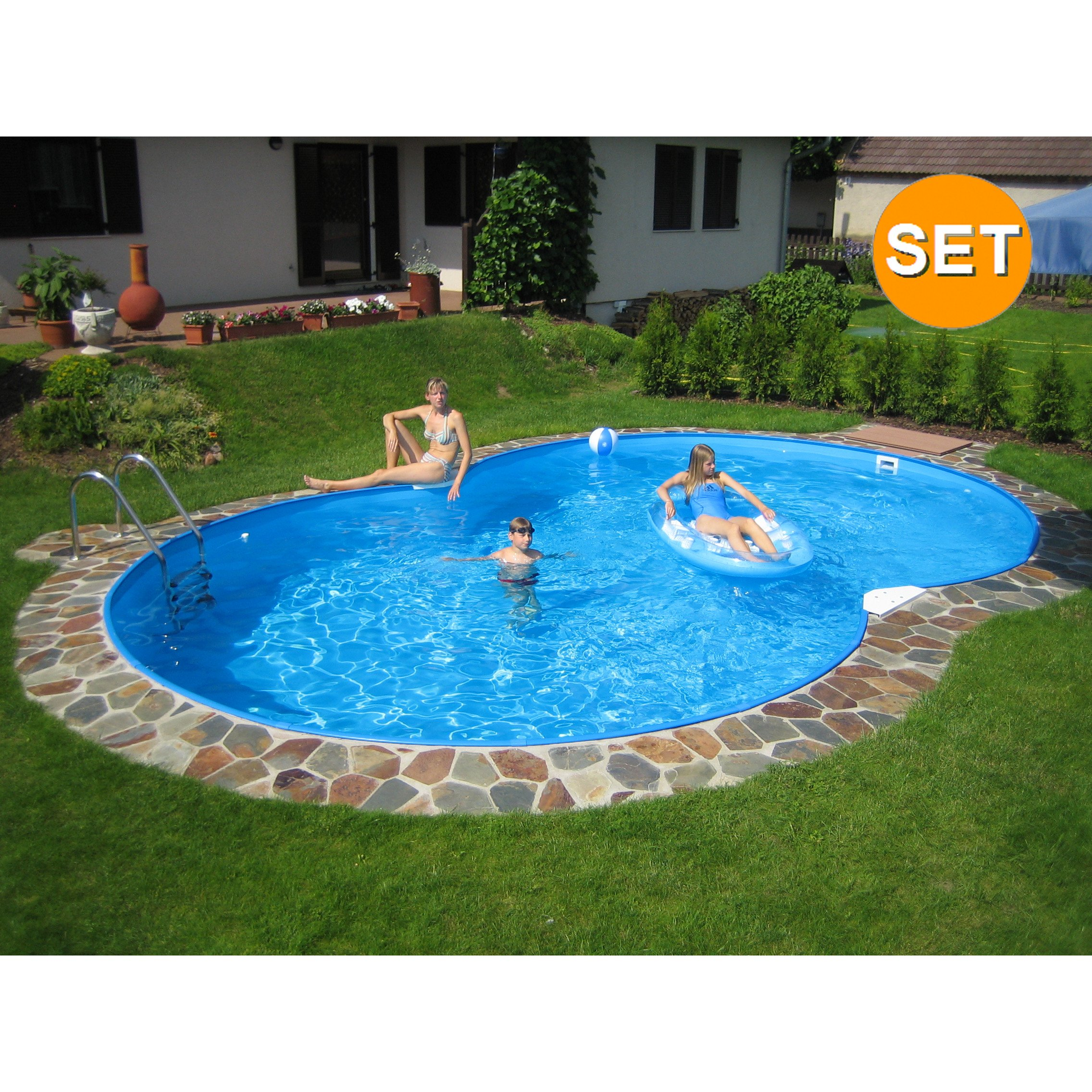 Family achtform pool 650 x 420 x 120 cm komplettset for Stahlwandbecken achtform