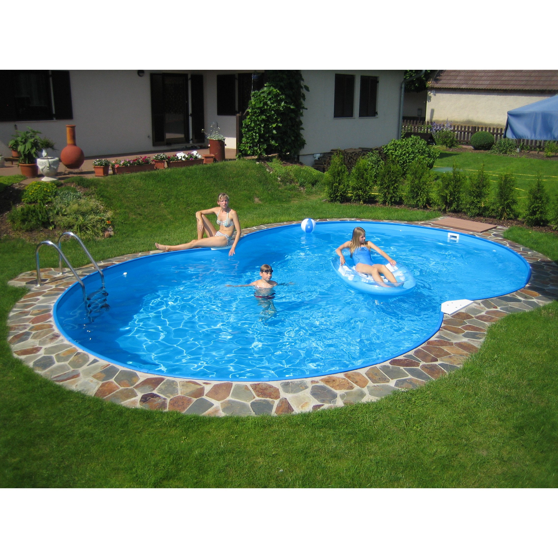 Family achtform pool 525 x 320 x 150 cm for Pool stahlwand