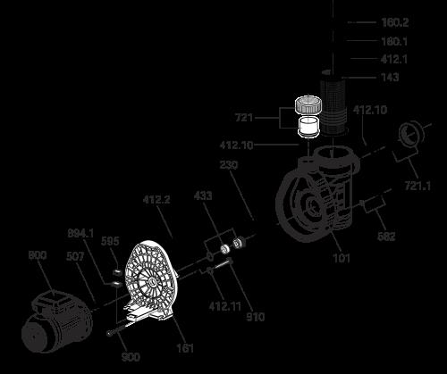 Wechselstrom-Motor, 230 V, mit Kabel und Stecker, 0,40 kW, für AQUA Plus 8